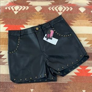 LoveRiche faux leather studded shorts size M!